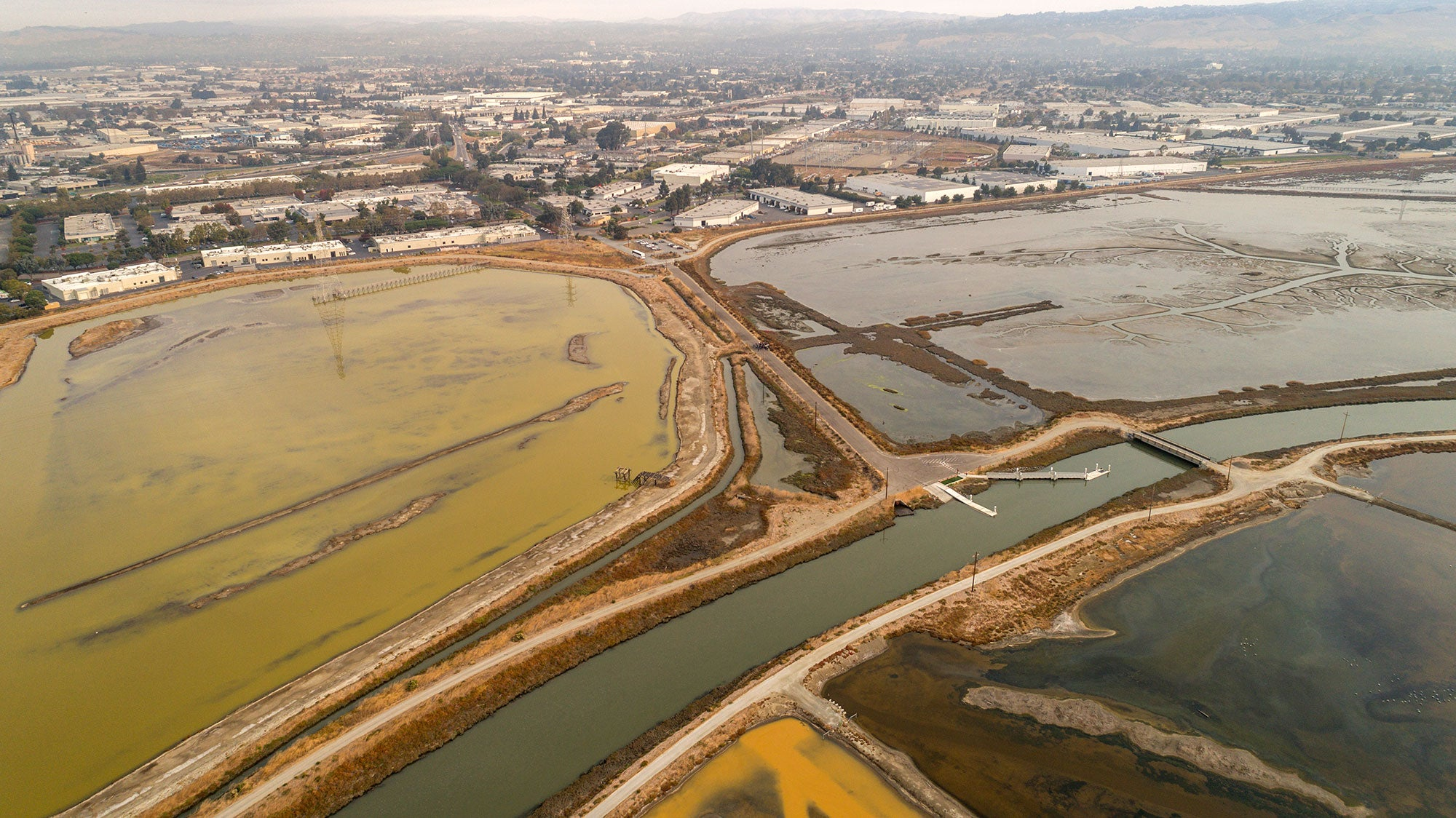 Aerial shot of South Bay Salt Ponds
