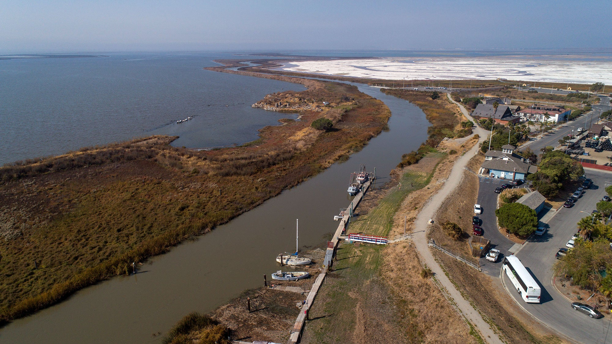 Aerial shot of South Bay Yacht Club's proximity to sloughs of the San Francisco Bay