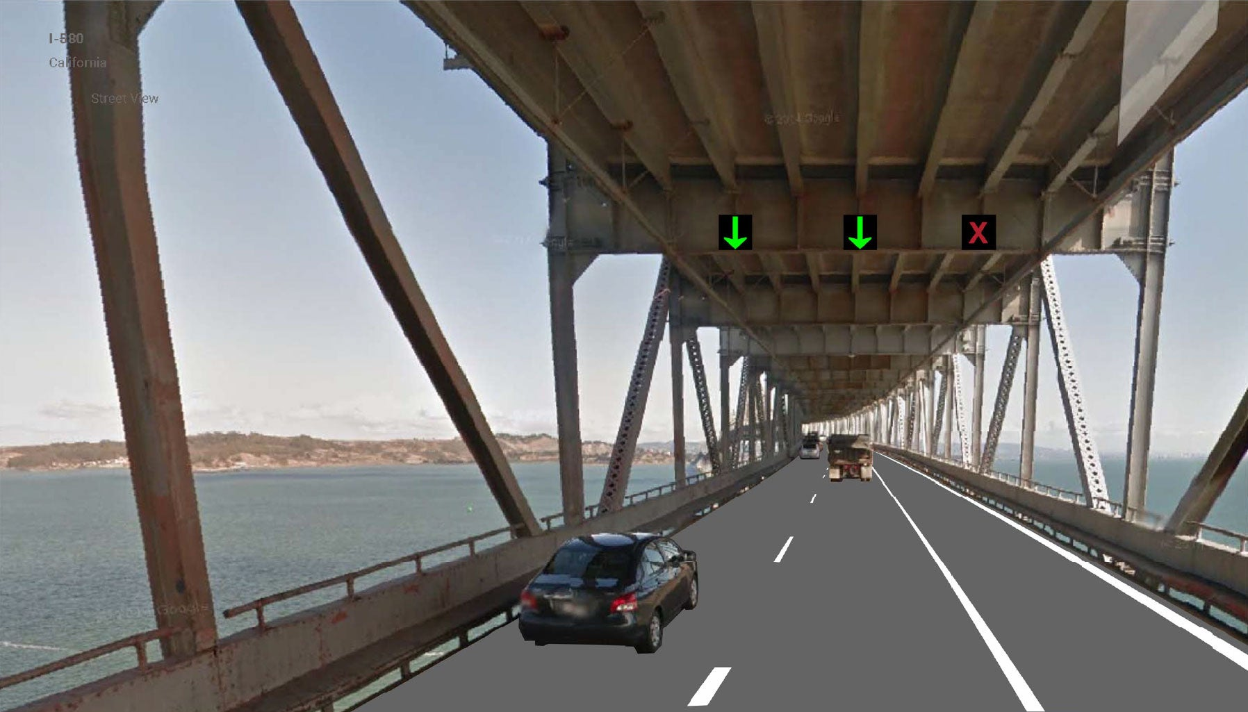 The shoulder of eastbound I-580 on the Richmond-San Rafael Bridge will be converted to a new, third vehicle lane (seen on the right in this rendering), which will be open to traffic during the afternoon peak hours under the proposed project.