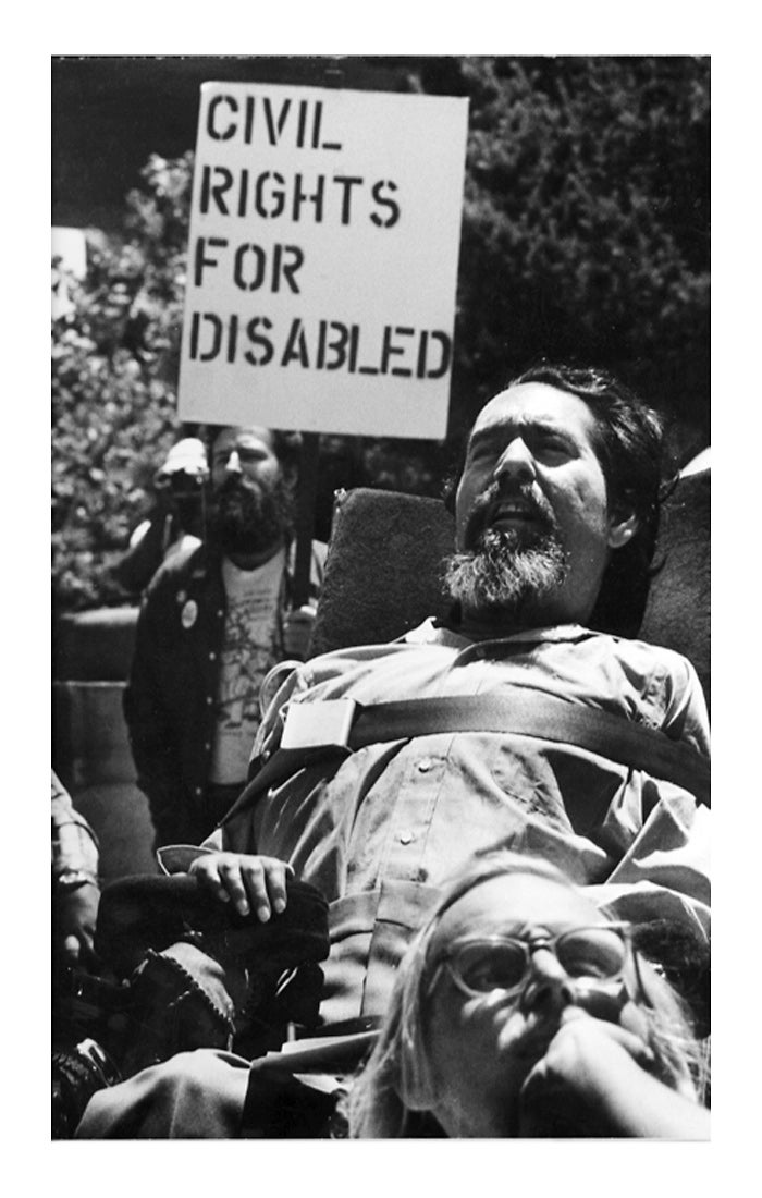 Ed saw advocacy as an important part of his role as Director of Rehab. He joins the crowd demonstrating outside of the SF Federal Building while a group of  disability leaders were inside occupying the building for 28 days.