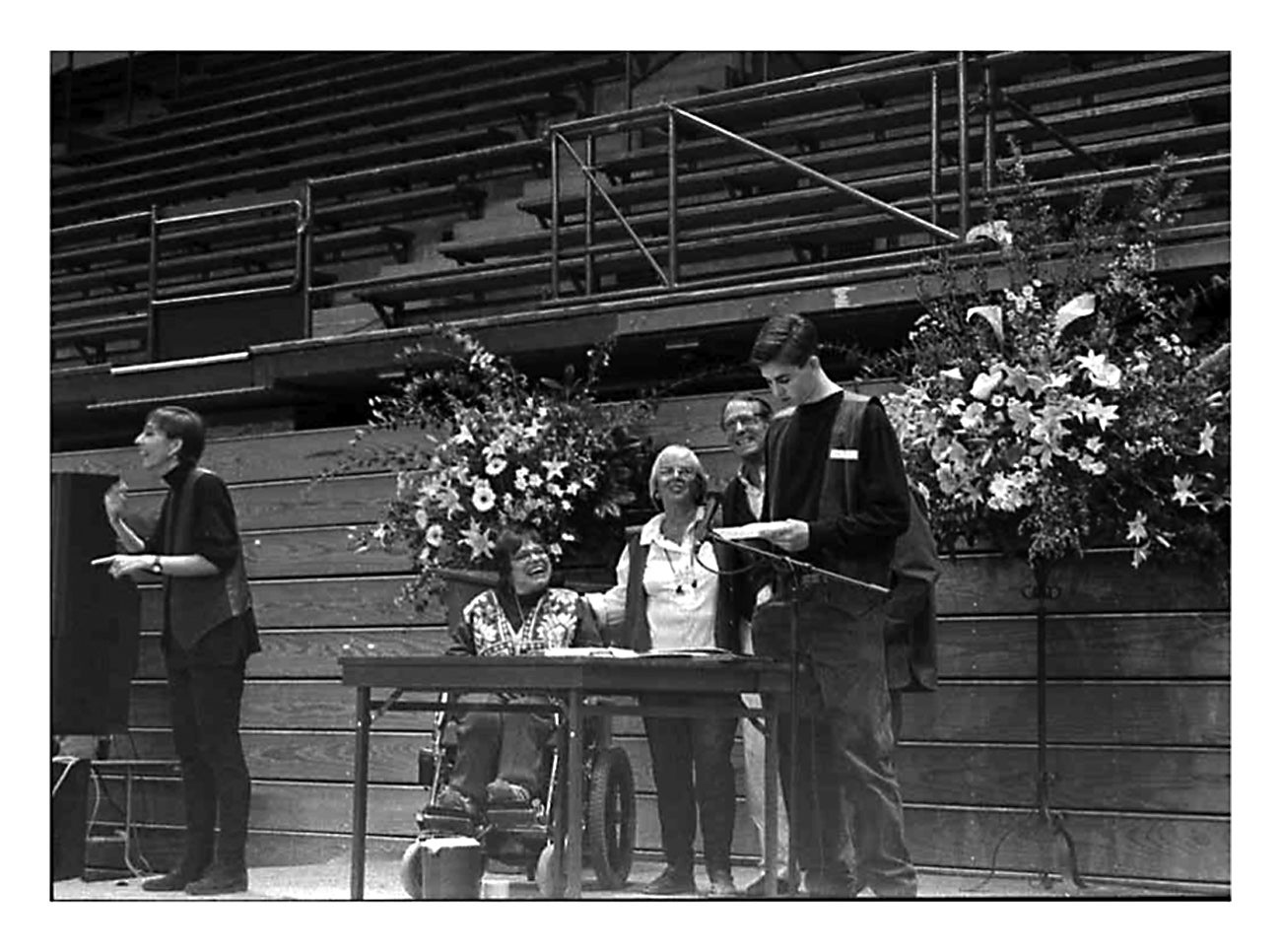 Lee Roberts spoke at the UC Berkeley memorial service held after Ed died in March 1995. Judy Heumann, Zona Roberts and Ron Roberts were watching.