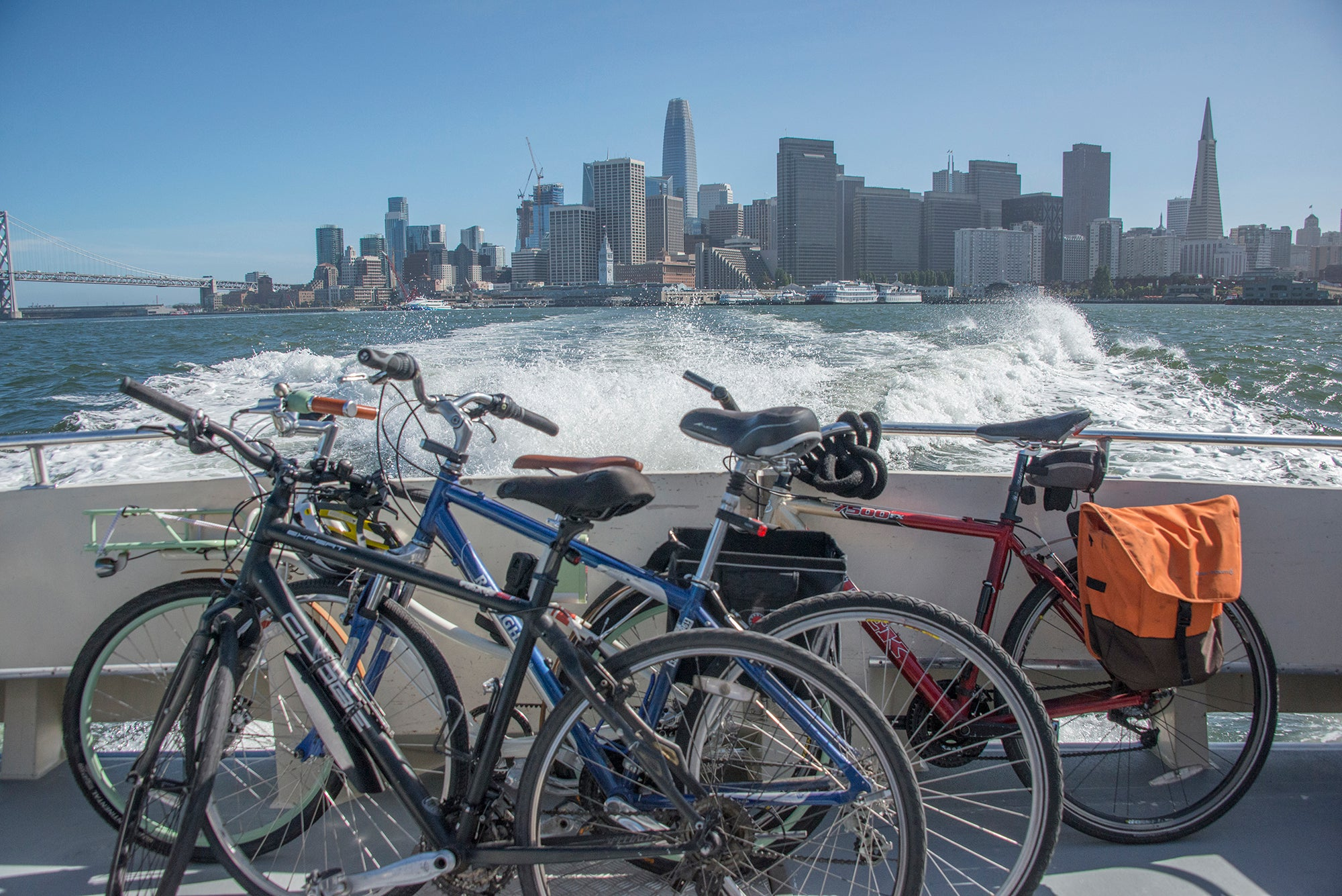 San Francisco skyline from Tideline ferry with bicycles