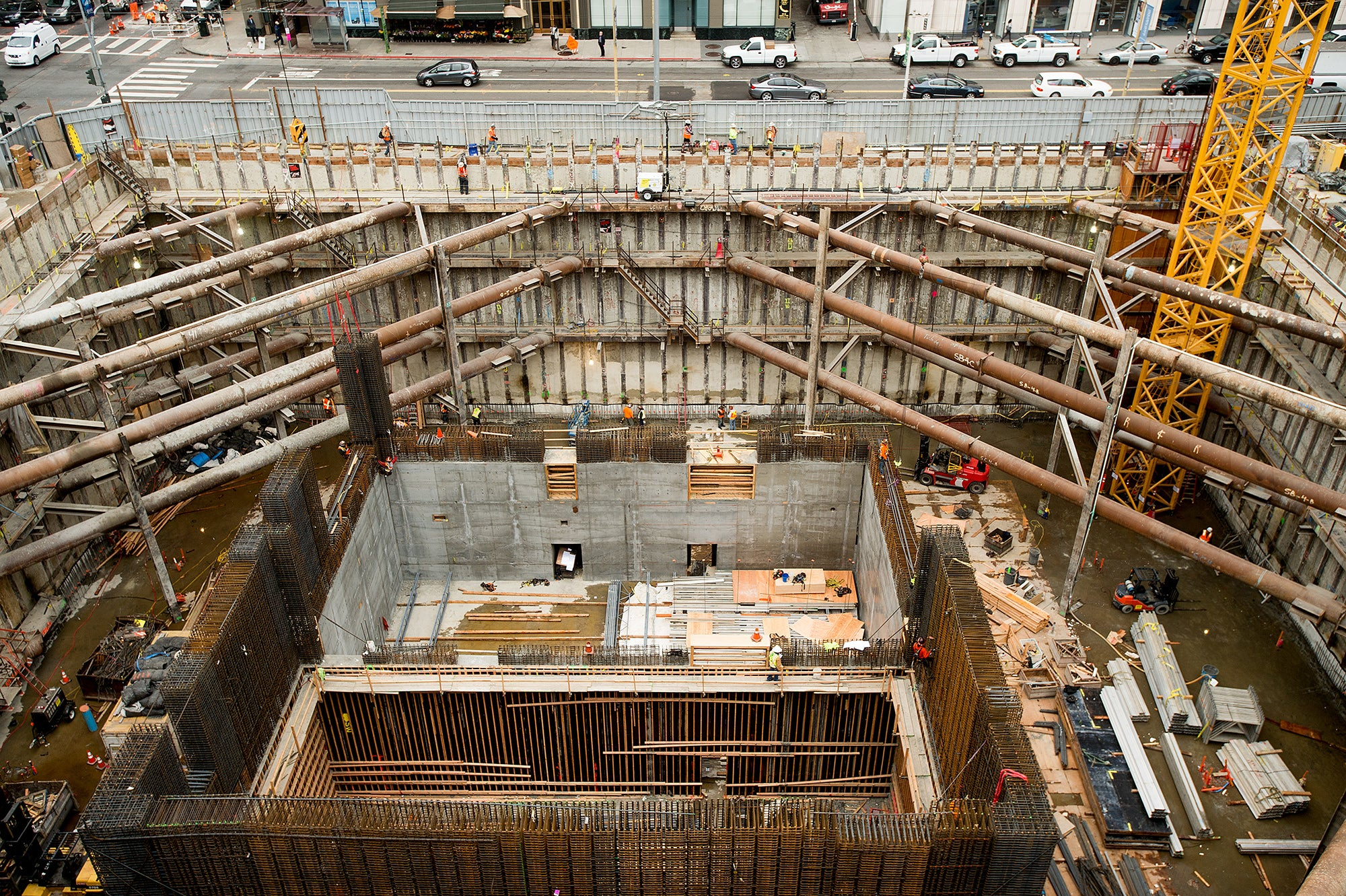 Braces cross the foundation of the Salesforce Tower which will connect to the Transbay Terminal