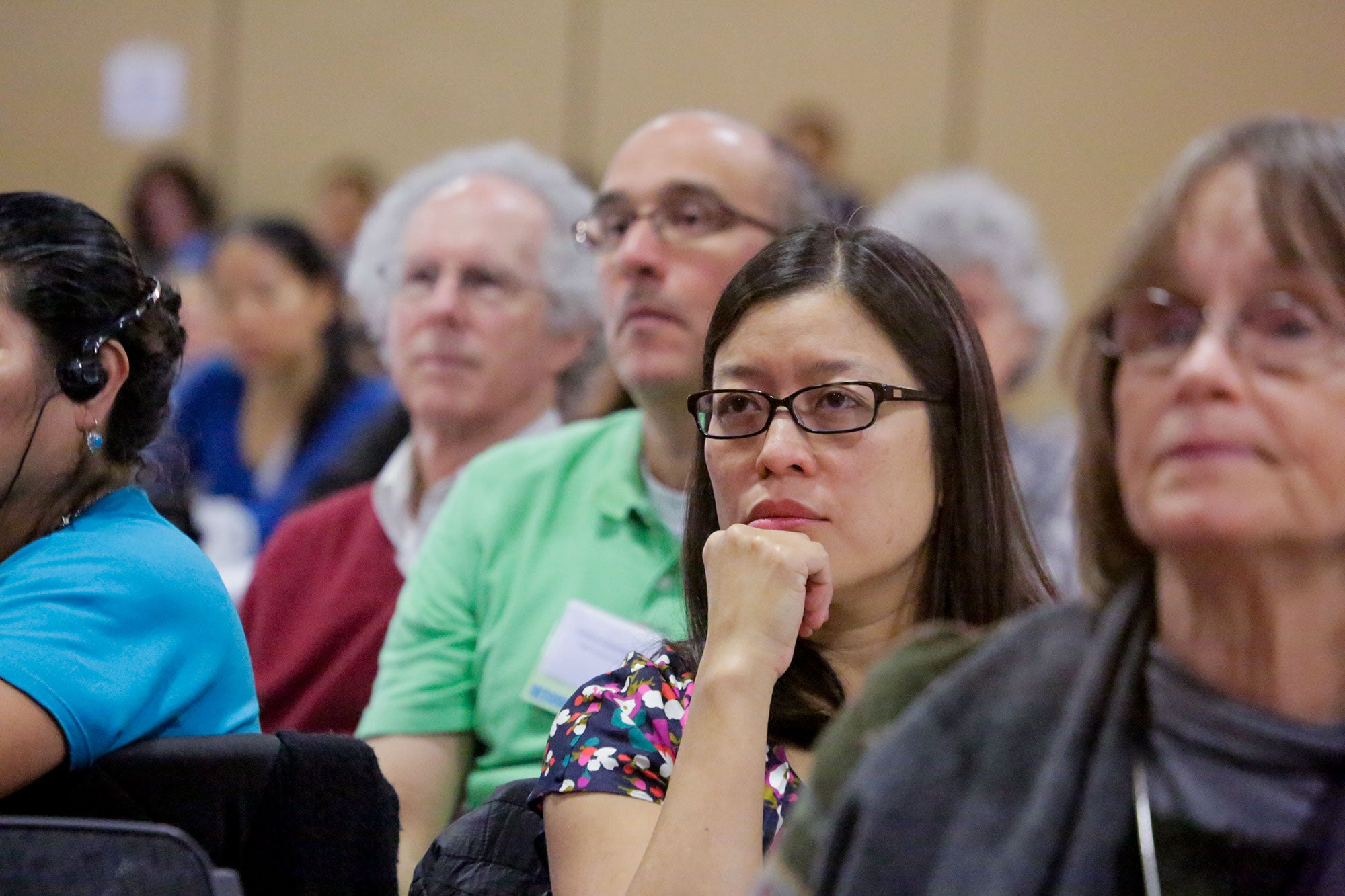 Attendees listened attentively to the residents tell first-person accounts of their housing struggles.