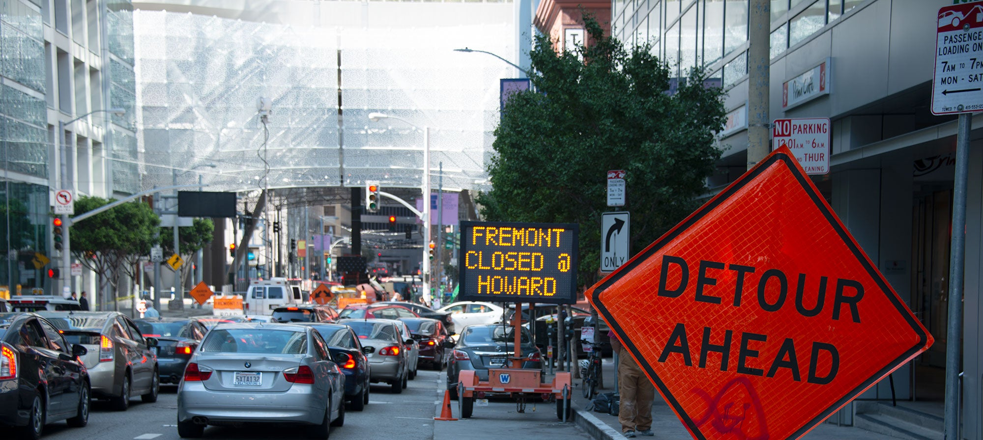 Traffic is being detoured around Fremont Street, which runs underneath the section of the Transit Center affected by the cracked beams. Visible in the distance are temporary posts reinforcing the affected area.