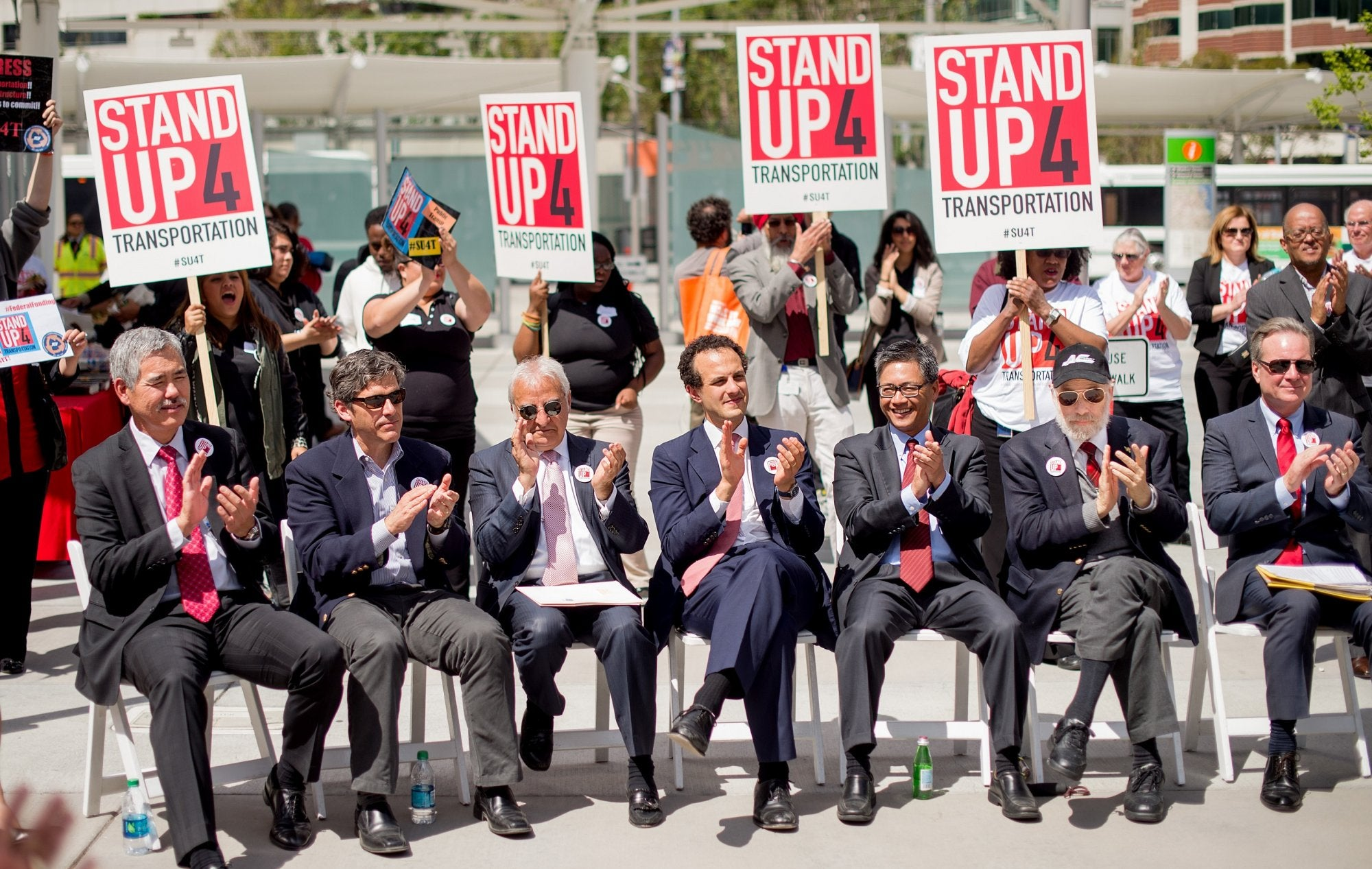 Bay Area and Calif. officials seated at the press event for Stand Up for Transportation
