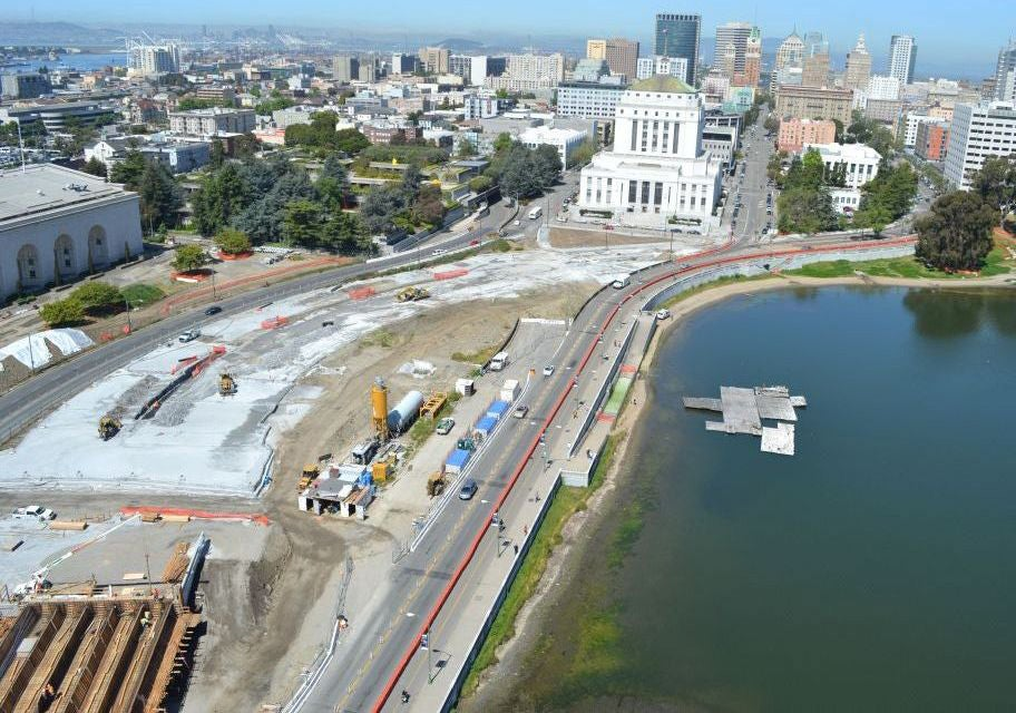 Lake Merritt Boulevard under construction