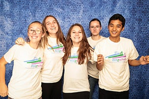 A group from ECO2school, smiling in the photo booth after a full day at the conference. ECO2school, similar to a high school Safe Routes to School program, is a program of the Climate Protection Campaign in Sonoma County.