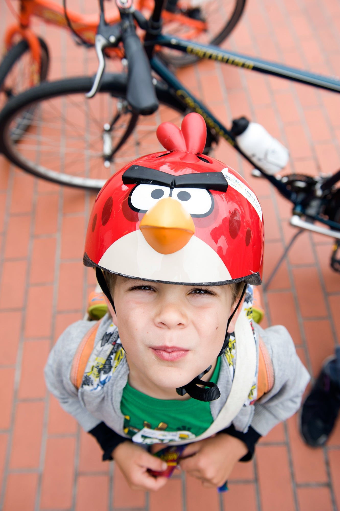 Myles Viera of Berkeley gives his best Angry Birds expression, with a helmet to match.