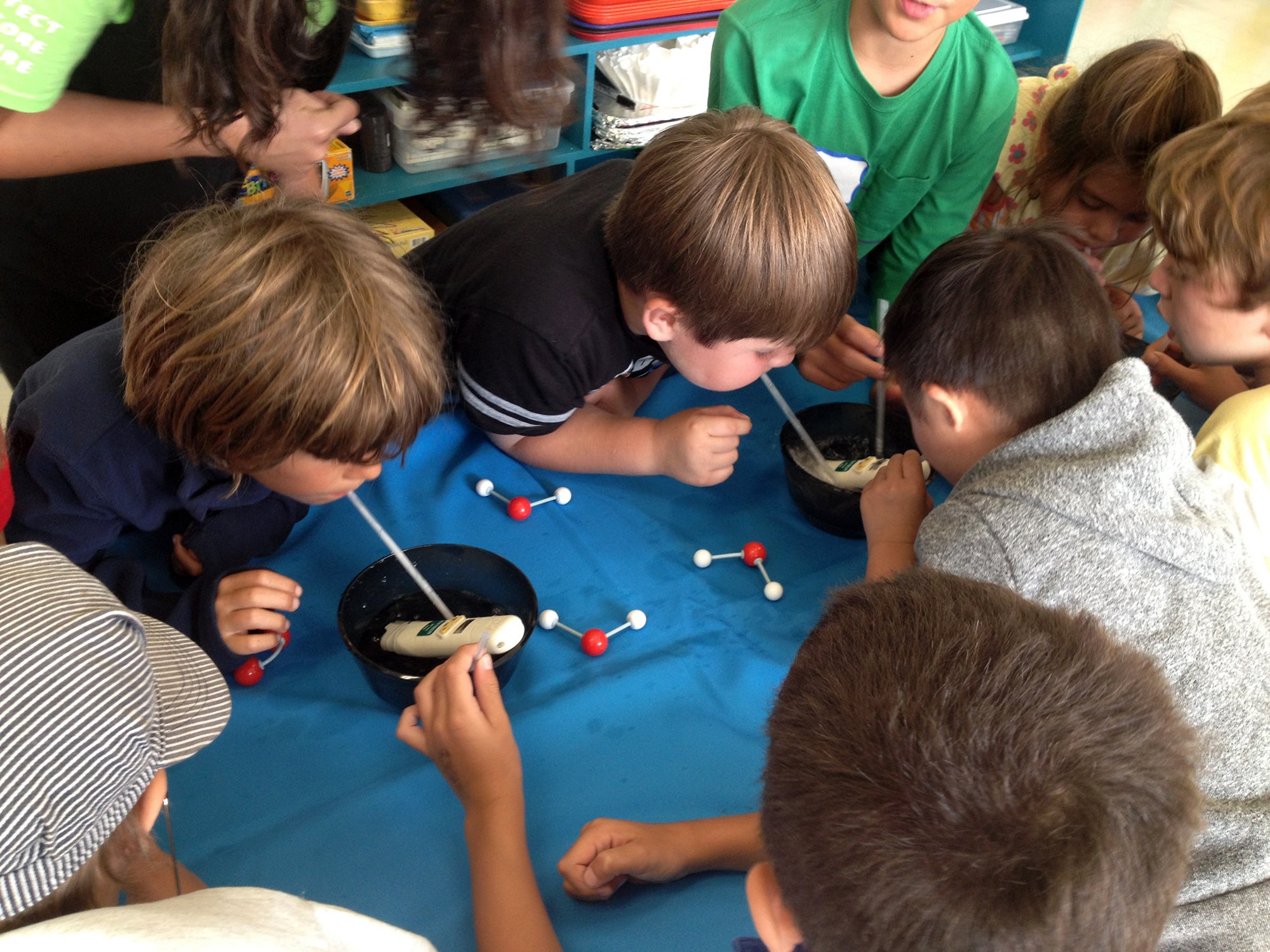 Students work with ball-and-stick-style molecular models during a BayMobile demonstration.
