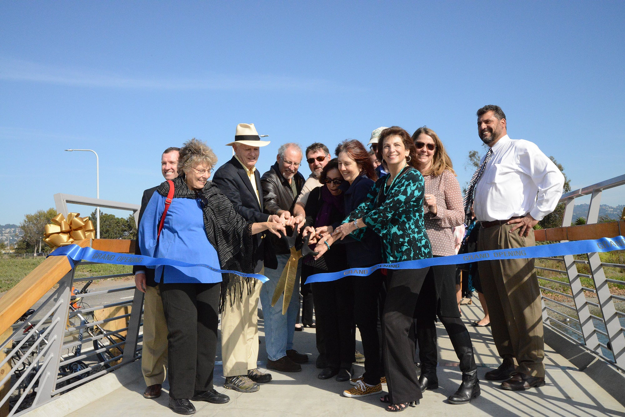 A crew of local and state officials cut the ribbon on the Bay Trail Extension.
