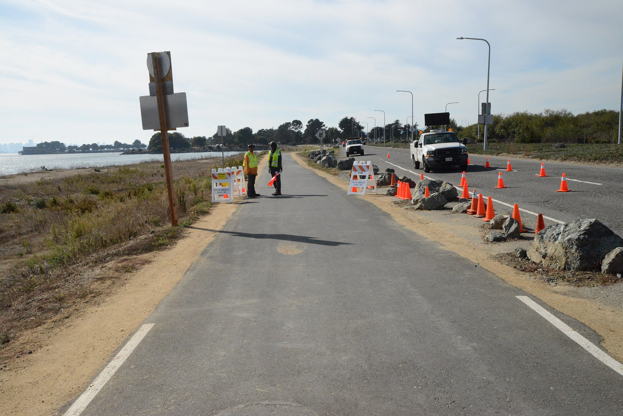 The trail extension stretches along the south side of University Avenue toward the Marina.