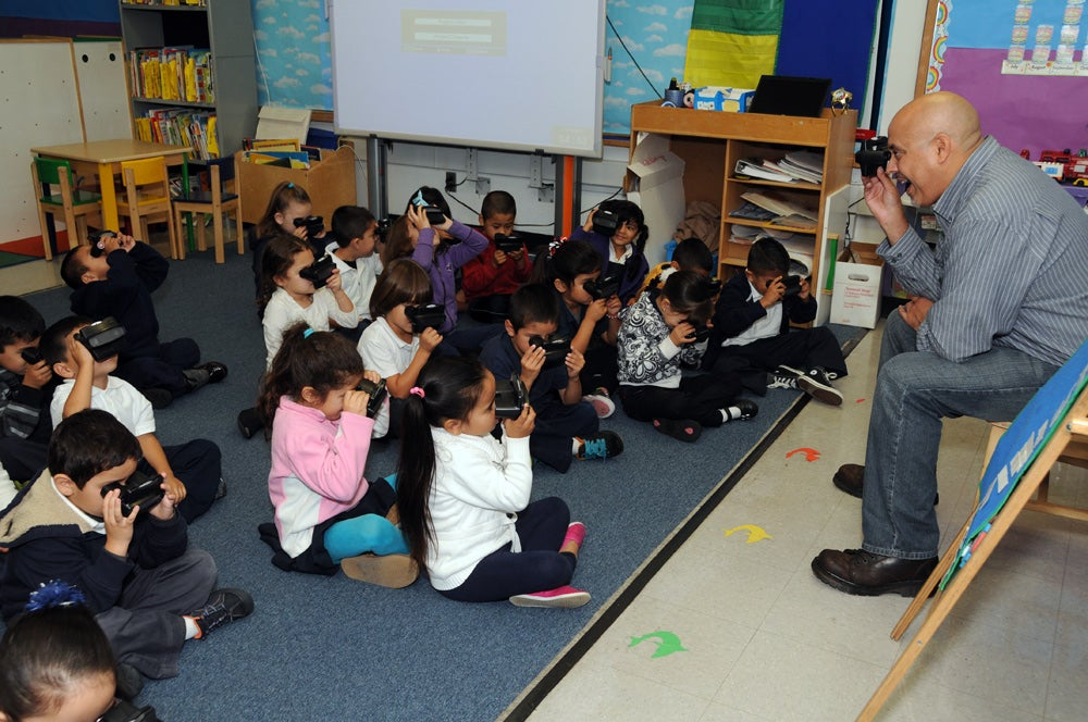 Kindergartners with viewfinders