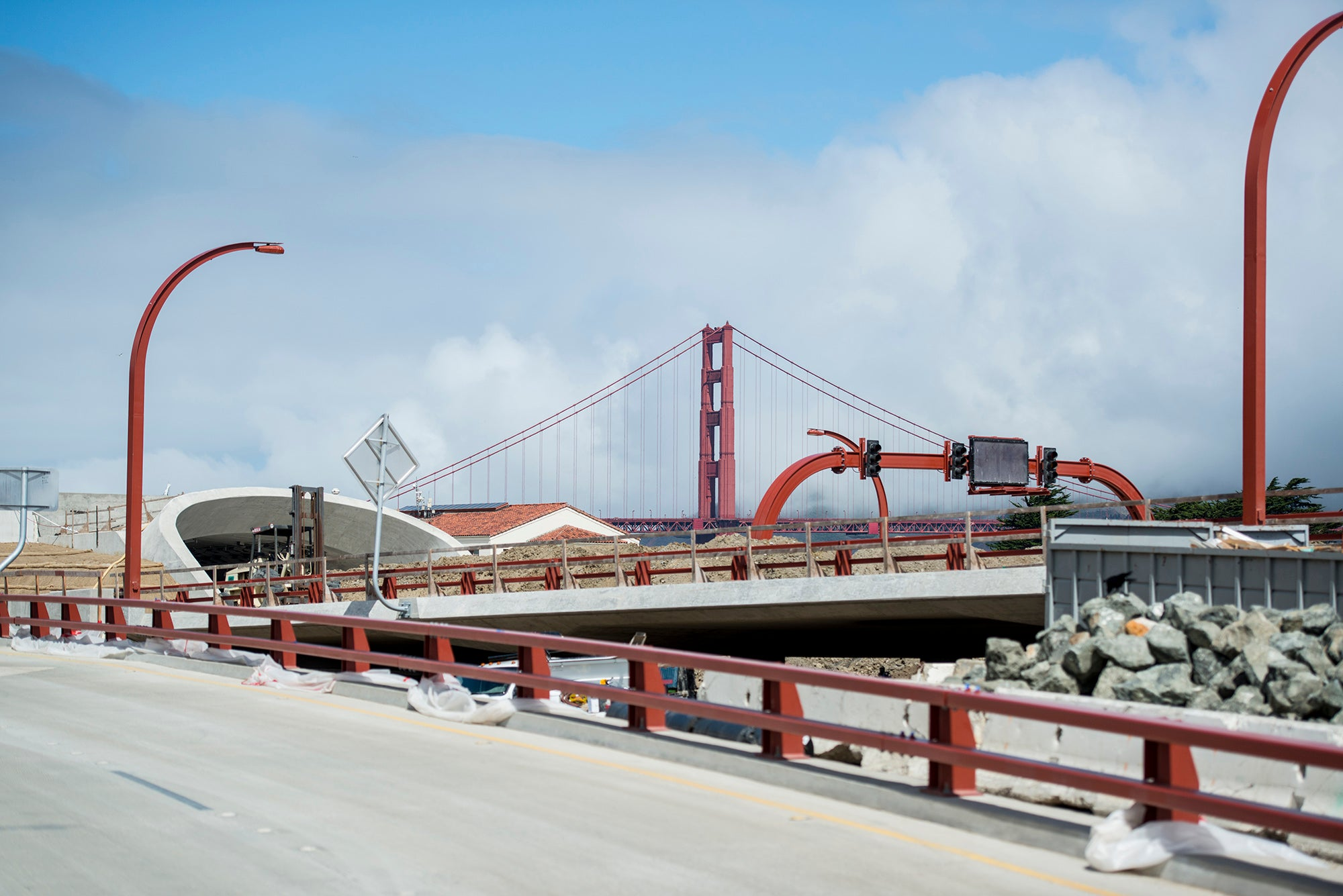 The Presidio Parkway serves as a gateway to the Golden Gate Bridge.