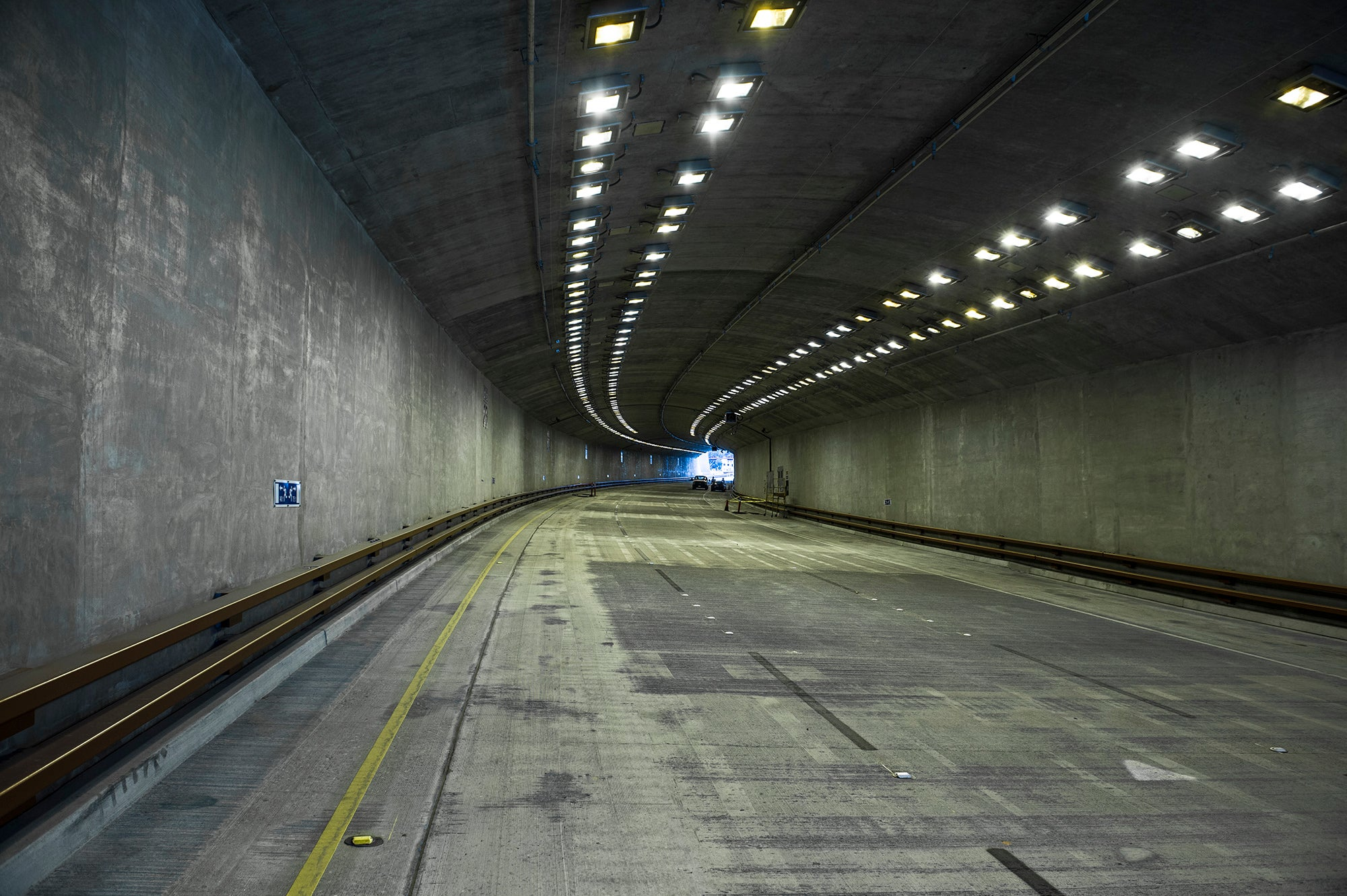 This tunnel is quiet now, but come Monday morning, traffic will begin to flow through it.