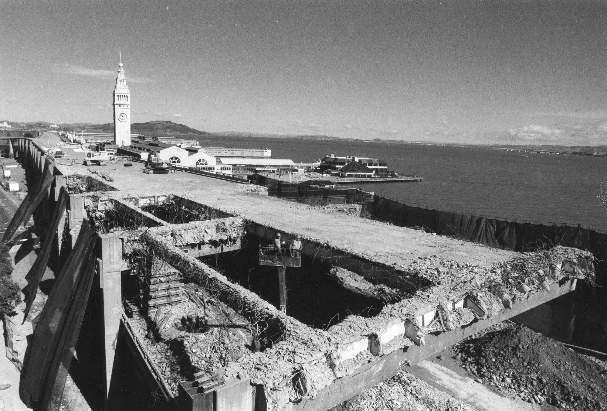 The Embarcadero Freeway was demolished after the quake.