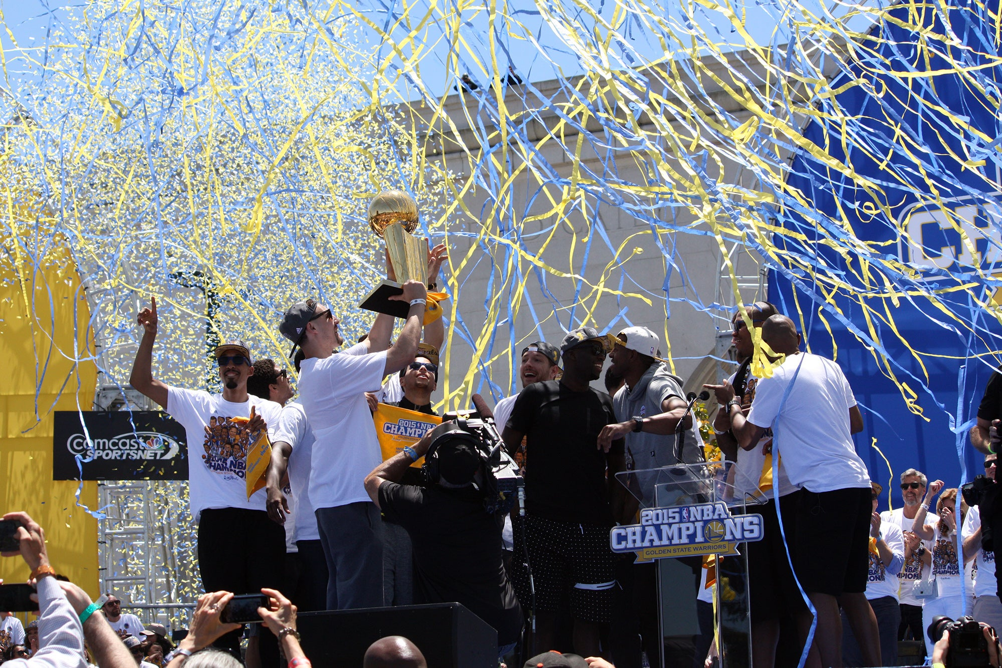 The event culminated with an explosion of yellow and blue streamers and confetti.