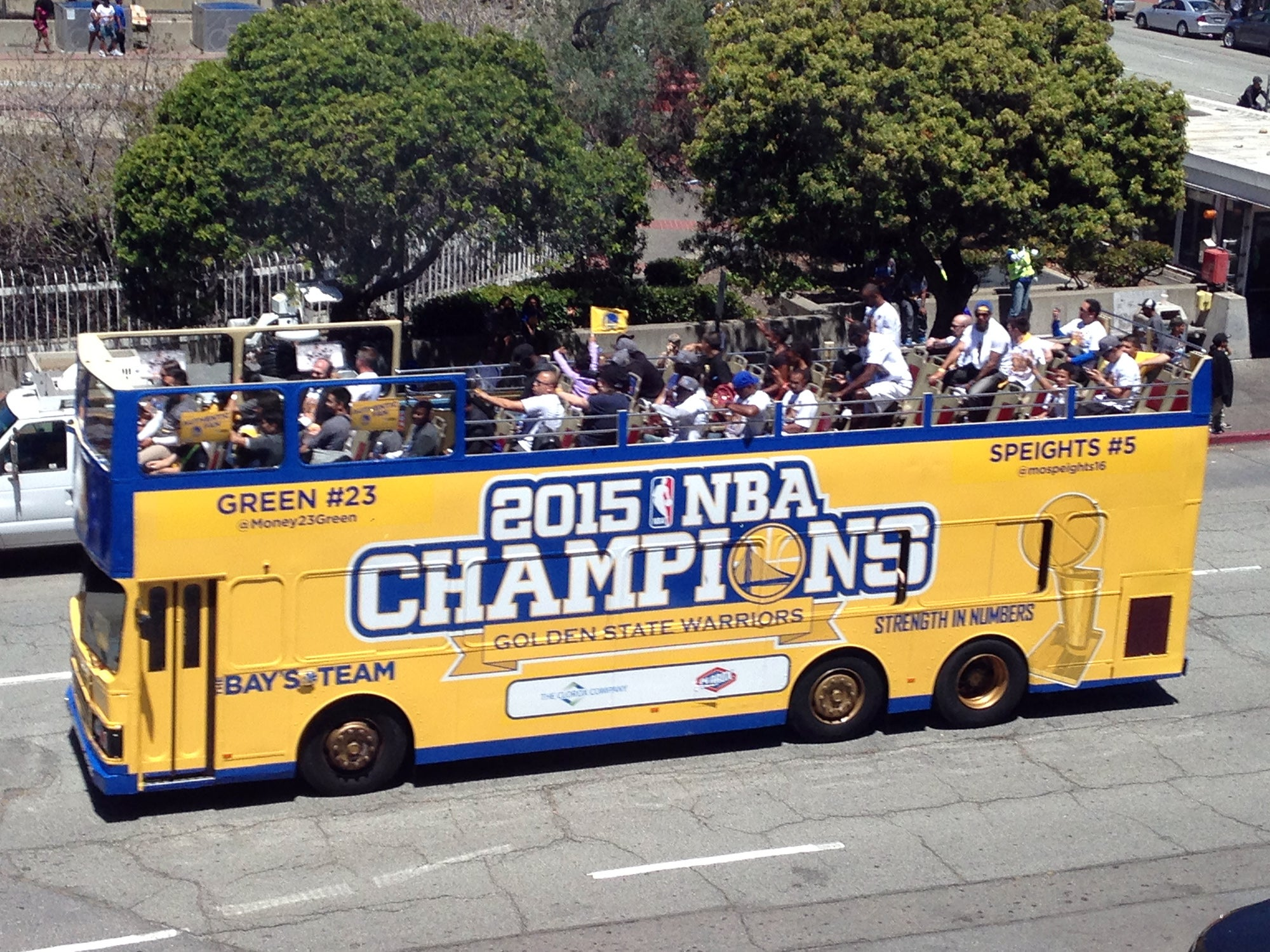 Post-rally, the procession of floats and buses made its way past the MetroCenter, sans the Warriors' players who were the focal point of the parade earlier in the day.