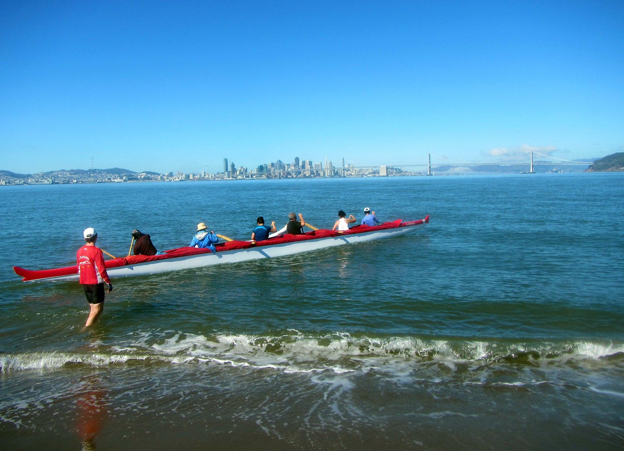 Outrigger canoers with O Kalani Outrigger Canoe Club, Alameda