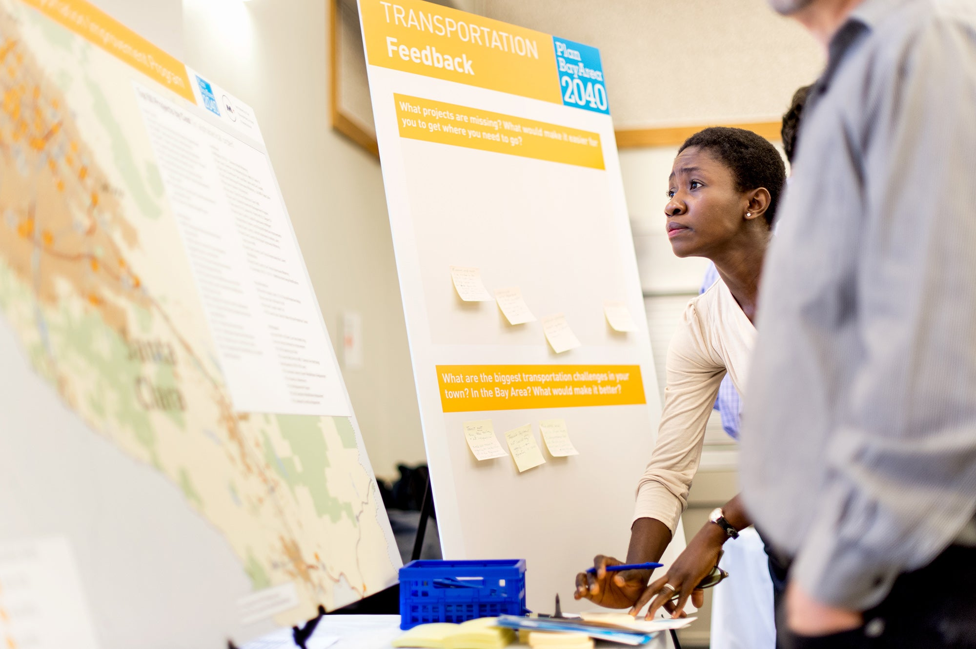 Attendees giving feedback at the Santa Clara County open house