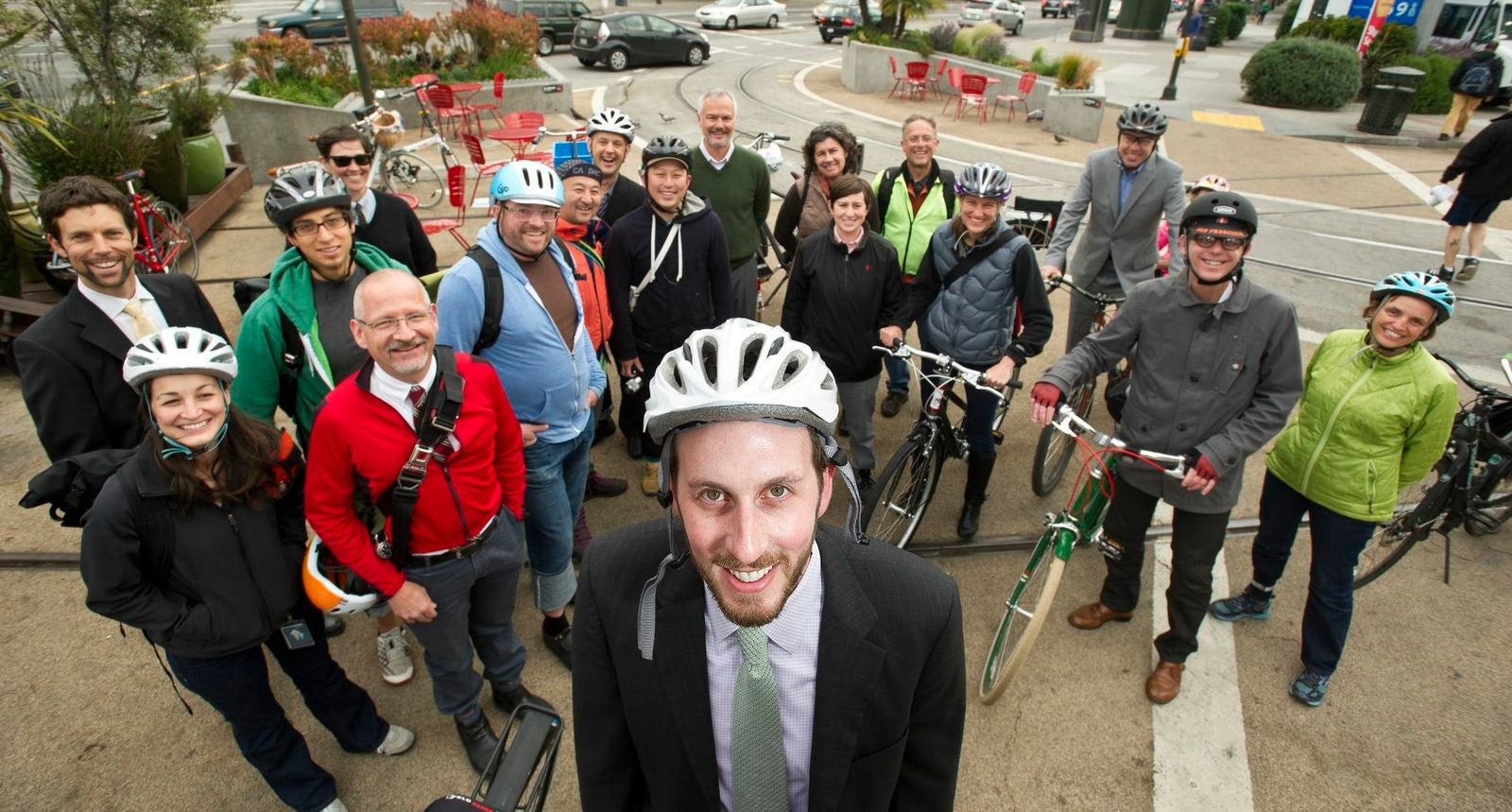 San Francisco Supervisor and MTC Commissioner Scott Wiener led a commuter convoy from the Castro to City Hall this morning.