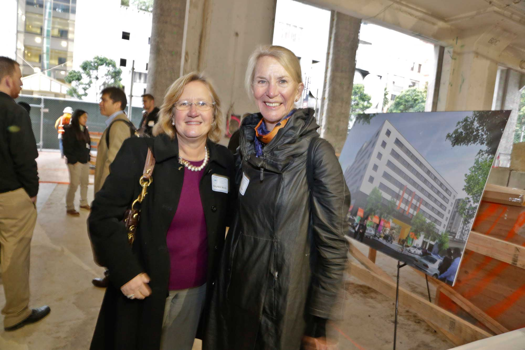 MTC Chair Amy Worth and Commissioner Anne Halsted take a look at their future meeting site.