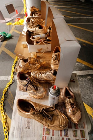 The Golden Sneaker Award is the trophy given to students with the greatest number of miles walked, biked or travelled by bus, transit or carpooling to school. Students, with the help of the San Francisco Bicycle Coalition, made trophies to be used in thei