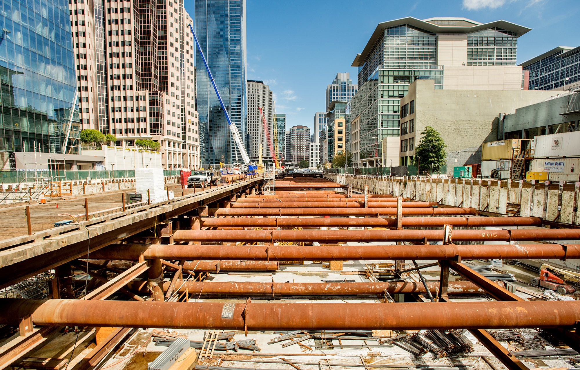 The Transit Transbay Center construction zone stretches for four long blocks.