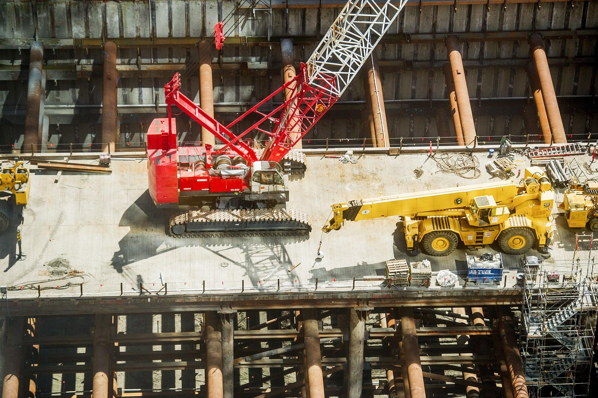 Crews have begun work on the second below-grade level.