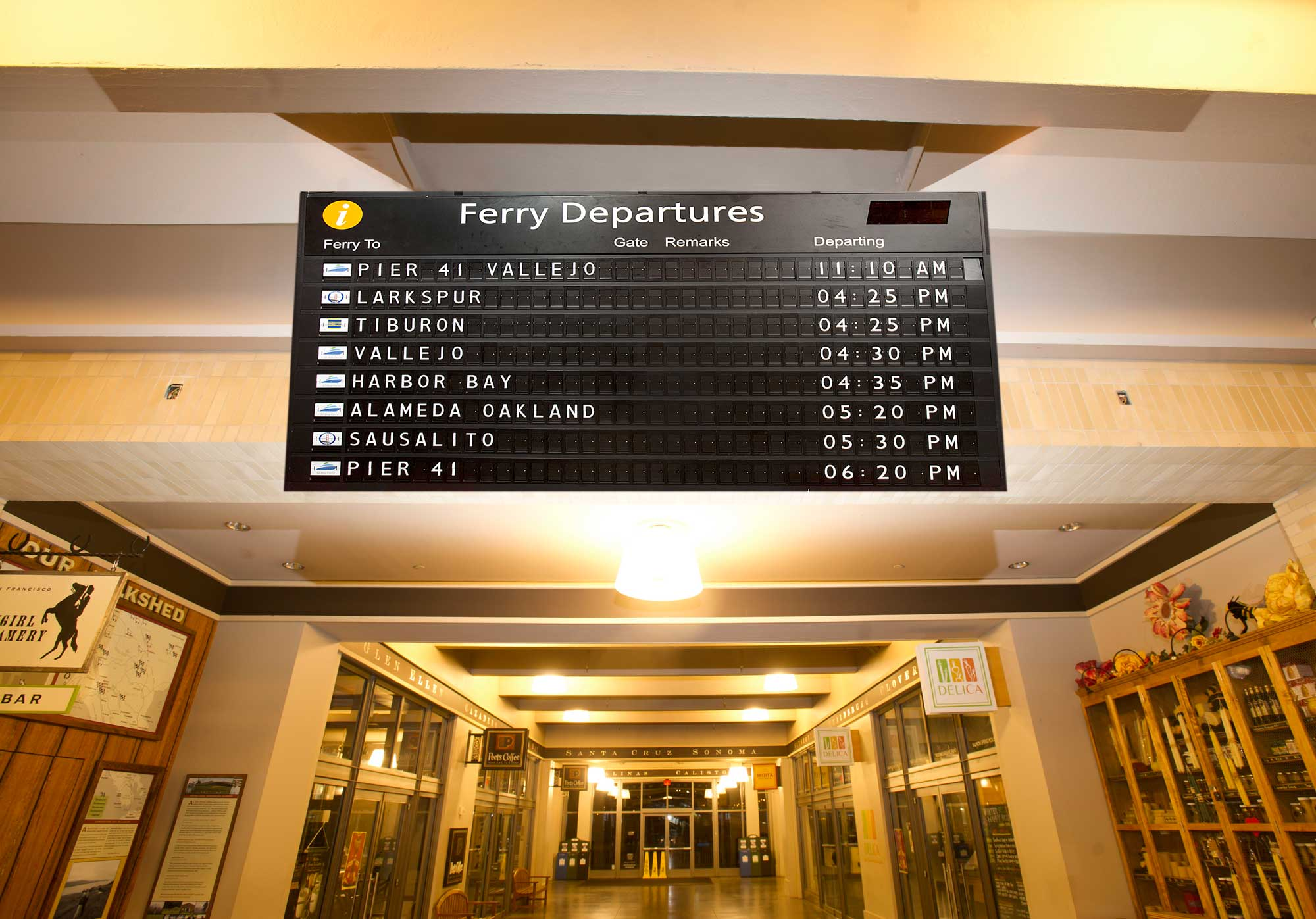 SF Ferry Building arrival/departure sign