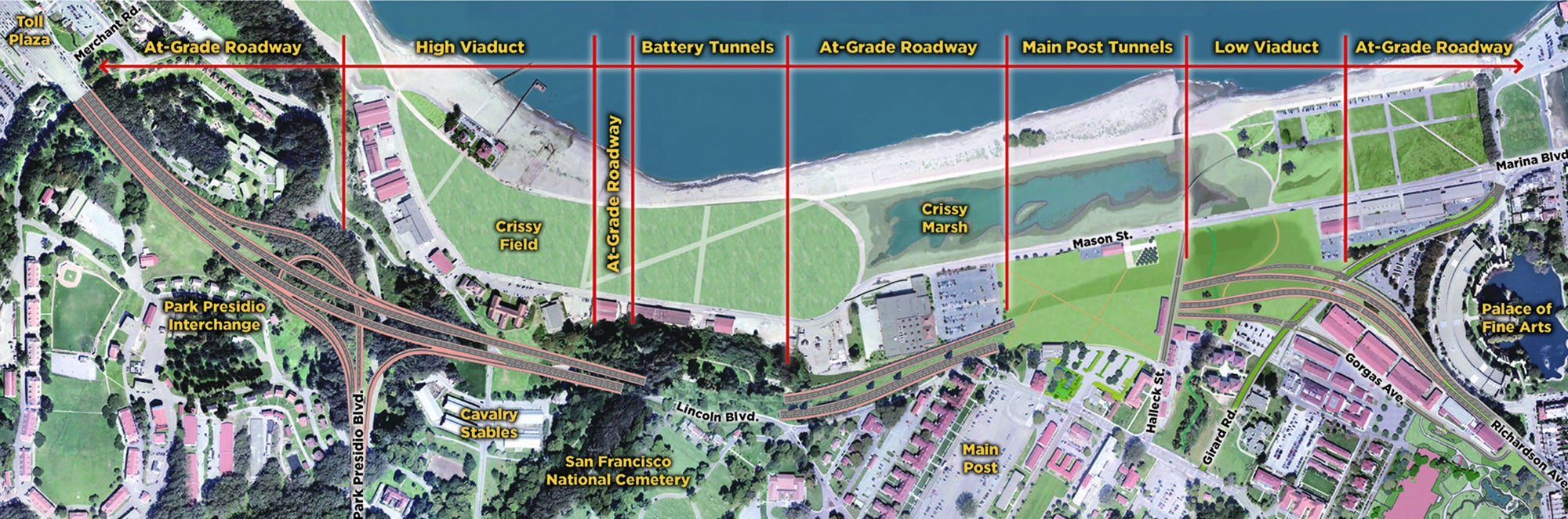 Map courtesy of Presidio Parkway Project.