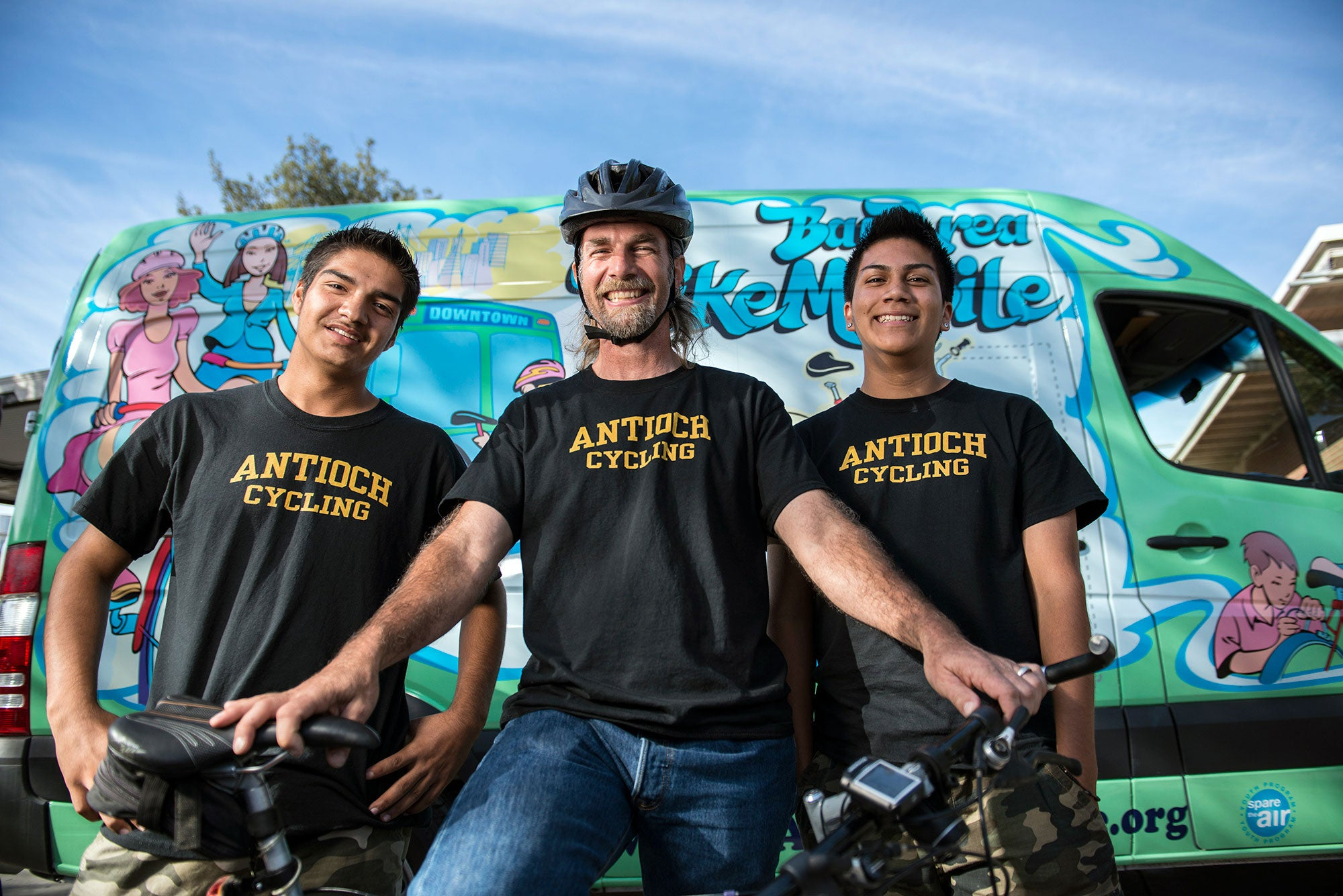 Antioch High School students on bikes
