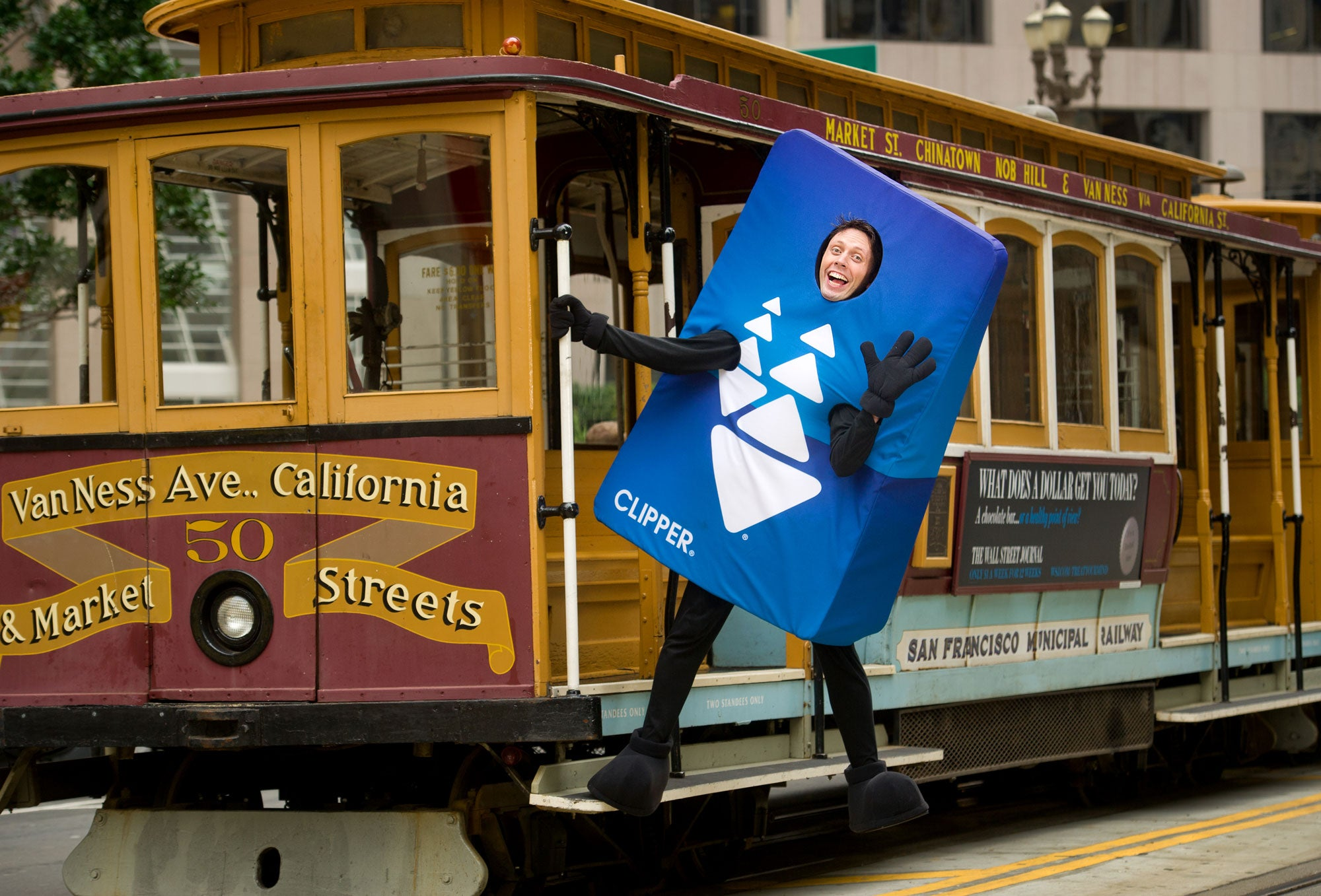 Clipper Card mascot on Cable Car in SF