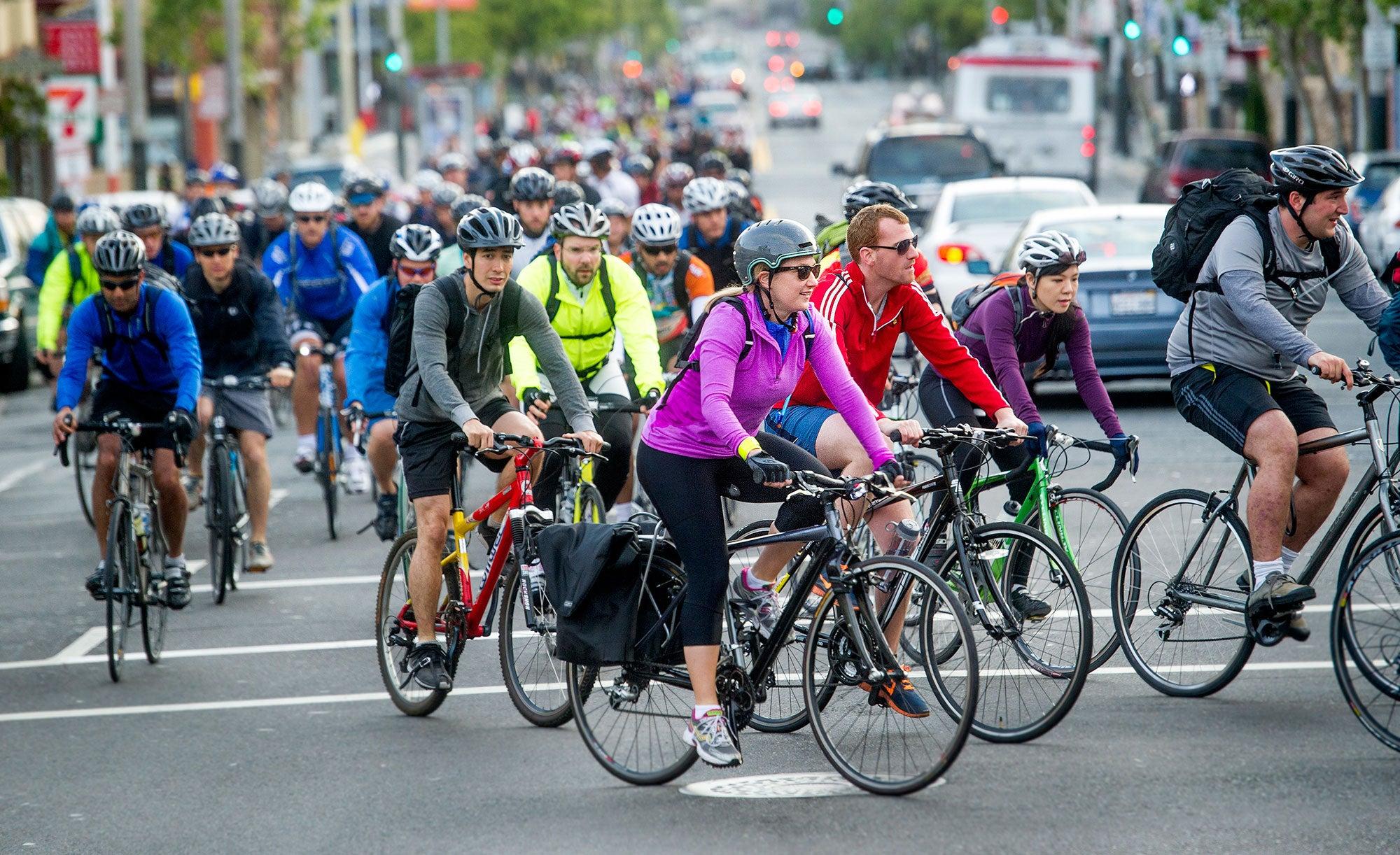 SF bike riders on Bike-to-Work Day 2014