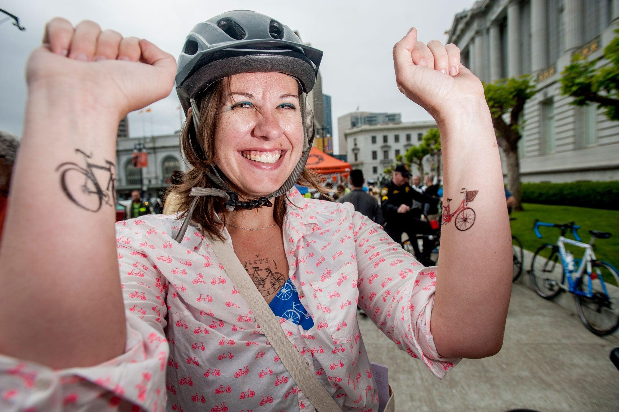 SF bike rider on Bike-to-Work Day 2014