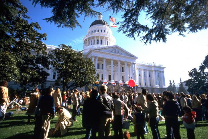 Citizens gather near the California State Capitol building
