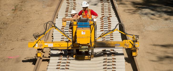 SMART Rail Construction near Hamilton Station in Novato